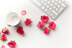 Keyboard with pink roses on white background. Flat lay. Top view Stock Photography
