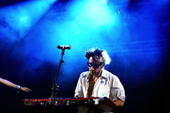 Keyboard player of La Femme (band) concert at FIB Festival Stock Image
