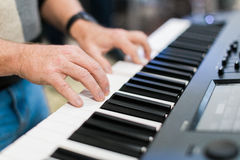 Keyboard player performing on stage Stock Photography