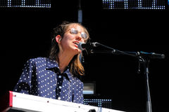 Keyboard player and singer of Fanfarlo (band), performs at Matadero de Madrid Stock Images