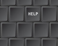 Keyboard press for help. Black keyboard with button for help Stock Photography