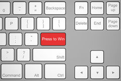 Keyboard, press to win. Red button Stock Photography