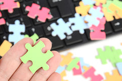 Keyboard and puzzle Royalty Free Stock Image