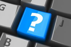Keyboard question blue key Royalty Free Stock Image