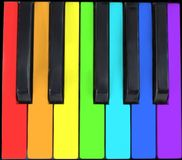 Keyboard in rainbow. Keyboard, rainbow, piano, keys, music, color, colour, Day-glo, primary, spectral, black, palette royalty free stock images