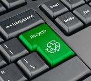 Keyboard recycle key. Recycle bin keyboard green button stock photos