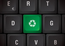 Keyboard recycling. Black Keyboard with recycling green touch Stock Images