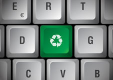 Keyboard recycling. White Keyboard with recycling green touch Royalty Free Stock Photo