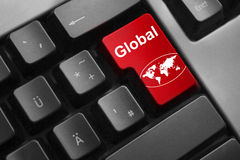Keyboard red button global world Royalty Free Stock Photos