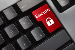 Keyboard red enter button secure. Dark grey keyboard red enter button secure lock symbol Royalty Free Stock Photo