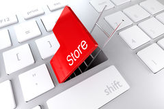 Keyboard red enter key ladder store 3D Illustration Stock Photography