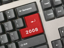 Keyboard - red key 2008. New year royalty free stock images