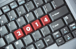 2014 on keyboard. Red 2014 key on keyboard Stock Photo