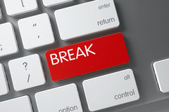 Keyboard with Red Key - Break. 3D. Break Concept Modern Keyboard with Break on Red Enter Key Background, Selected Focus. 3D Illustration Royalty Free Stock Photos