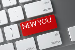 Keyboard with Red Key - New You. 3D. New You Concept Metallic Keyboard with New You on Red Enter Key Background, Selected Focus. 3D Illustration Royalty Free Stock Photography
