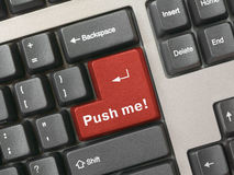 Keyboard - red key Push me Royalty Free Stock Photo