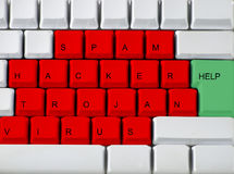 Keyboard - Red Key Virus, Troj Stock Images