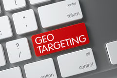 Keyboard with Red Keypad - Geo Targeting. 3D. Geo Targeting Concept White Keyboard with Geo Targeting on Red Enter Button Background, Selected Focus. 3D stock images