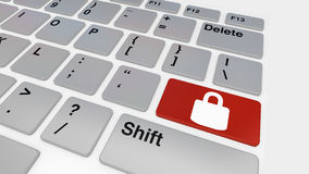 Keyboard with red lock Royalty Free Stock Photos