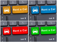 Keyboard with rent car button Royalty Free Stock Photo