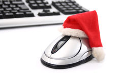 Keyboard and Santa mouse royalty free stock photos