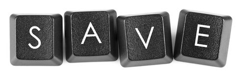 Keyboard with save word stock photo