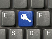 Keyboard with security key. Keyboard (closeup) with blue security key Royalty Free Stock Images