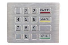 Keyboard self-service terminal. Closeup Stock Photos