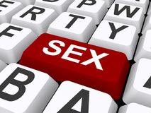 Keyboard with sex button. An illustration of a keyboard with a big red button labeled SEX Stock Photo