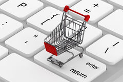 Keyboard and a shopping cart Stock Image