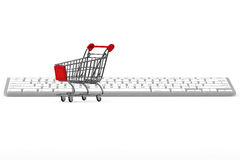 Keyboard and a shopping cart Royalty Free Stock Image