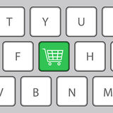 Keyboard with Shopping cart. Vector Illustration Royalty Free Stock Image