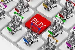 Keyboard and a shopping carts Royalty Free Stock Photo