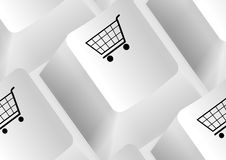 Keyboard with shopping carts Stock Photo
