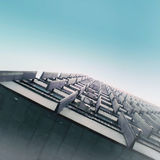 Keyboard in the sky. Minimal. Skyscraper Royalty Free Stock Images