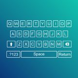 Keyboard of smartphone, alphabet buttons. Qwerty Vector illustration Stock Image