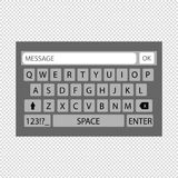 Keyboard Of Smartphone - Qwerty Layout - Alphabet Buttons. Vector Illustration - Transparent Background Royalty Free Stock Photography