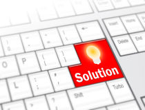 Keyboard with Solution button. With the lamp Royalty Free Stock Photos