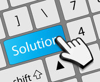 Keyboard solution button with mouse hand cursor Stock Photos