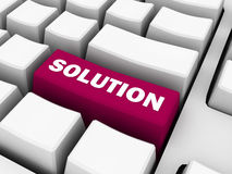 Keyboard with solution text on red button Royalty Free Stock Image