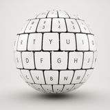 Keyboard sphere. 3d illustration of keyboard sphere Royalty Free Stock Photo