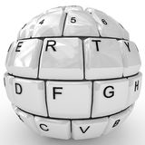 Keyboard sphere isolated on white background. 3D keyboard sphere isolated on white background Stock Photography