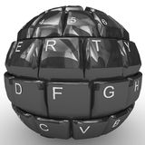 Keyboard sphere isolated on white background. 3D keyboard sphere isolated on white background Stock Images