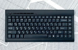 Keyboard on a spreadsheets royalty free stock images