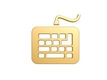 Keyboard symbol. Gold keyboard symbol isolated on white background Royalty Free Stock Images