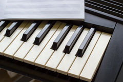 Keyboard synthesizer with notes Stock Images