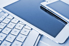 Keyboard, tablet and smart phone Royalty Free Stock Photo