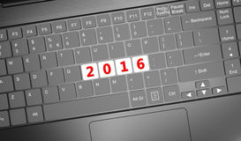 Keyboard with 2016 text. 3D render illustration Royalty Free Stock Photos