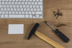 Keyboard and tools on Desktop Stock Photo