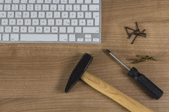 Keyboard and tools on Desktop Royalty Free Stock Photo